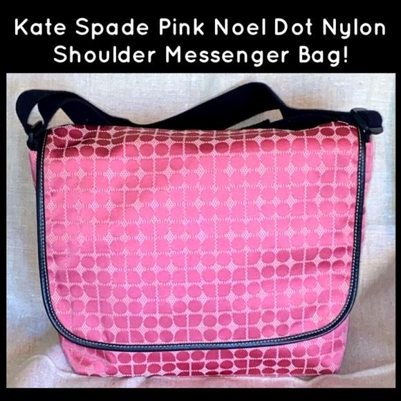 Kate Spade Pink Noel Dot Nylon Messenger Bag!